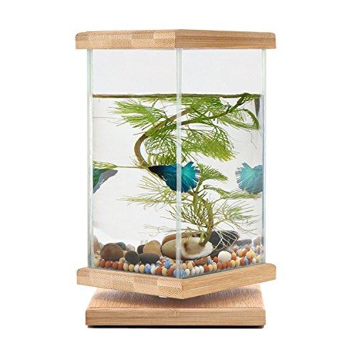 Segarty 360 Degree Revolving Desktop Fish Tank Bamboo - Unique Fish Bowls with Glass Square Jar - Small Betta Fish Tank Aquarium for Home Office Decoration