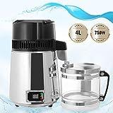 D&F Destilador de Agua 1,1 Galones / 4 L Interior de Acero Inoxidable 750W Purificador Agua con Recipiente de Vidrio para Hogar Oficina