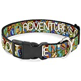 Buckle-Down Cat Collar Breakaway Adventure is Out There Stacked Wilderness Explorer Badges Tan 8 to 12 Inches 0.5 Inch Wide