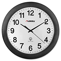 Wholesale CASE of 10 - Lorell 11 Radio Controlled Wall Clock-Wall Clock, 12, Arabic Numerals, White Dial/Black Frame