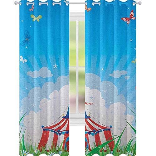 YUAZHOQI Cortina de circo para puertas francesas, tienda de campaña de circo con nubes, mariposas y cielo transparente, para puerta de cristal, 132 x 274 cm, color rojo, verde y azul