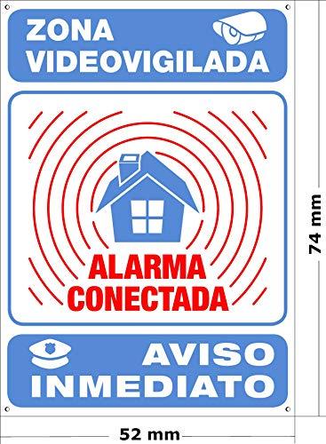 Mini-cartel Alarma Conectada | Disuasorio Para Interior/exterior Metálico y Ultra-resistente | Placa Aviso a Policía, 7x5 cm | Zona Vigilada y tamaño Mini
