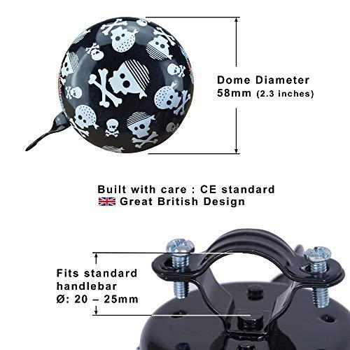 KIDDIMOTO Glocke Design Klingel/Fahrradklingel zubehör Fahrrad, Roller, Kinderroller Kinderfahrrad & Laufrad - Skullz (Klein)- 58mm - 2