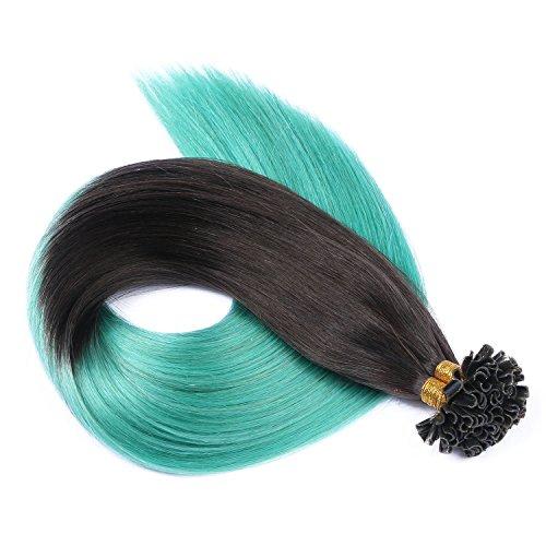 Keratin Bonding - # 1B/SKY OMBRE - 60cm - 100 Strähnen - 0,5g - 100% Remy Echthaar Haarverlängerung U-Tip Extensions sehr hohe Qualität by NOVON Hair Extention