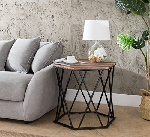 Weathered Oak/Metal Frame Hexagon Chair Side End Table 24' H by eHomeProducts