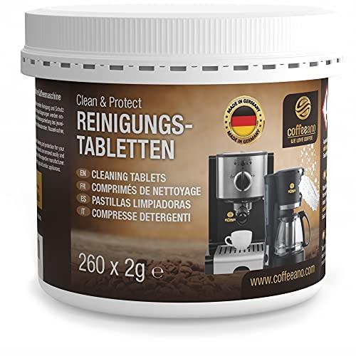 Coffeeano 260 pastiglie di pulizia per macchine da caffè e macchine da caffè Clean&Protect. Pastiglie di pulizia compatibili con Jura, Siemens, Krups, Bosch, Miele, Melitta, WMF e molto altro ancora.