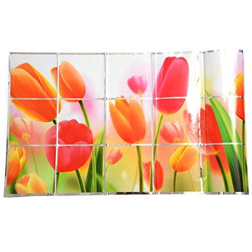 Summerwindy Calcomania de Pared Tulipanes romanticos para Cocina Pegatinas a Prueba de Aceite de Grasa 73 * 45cm