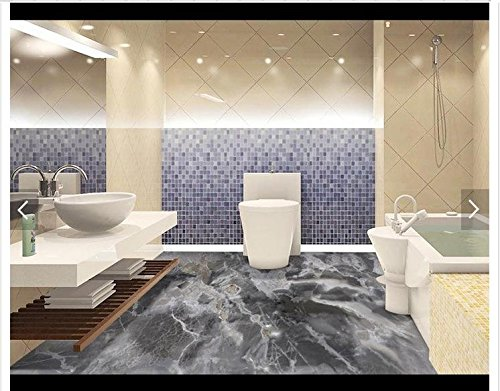 Mznm Custom 3D Photo Wallpaper 3D vloerbedekking schilderen behang grijs marmer patroon badkamer 3D vloertegels 3D woonkamer Wallpaer 200 x 140 cm.