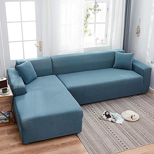 JXJ Funda de sofá Todo Incluido Toalla de sofá de Tela elástica Nordic Four Seasons Cojín de sofá de combinación de Chaise universal-90~140Cm_Blue