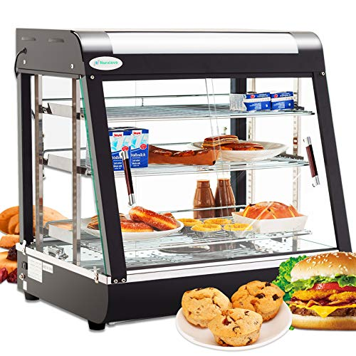 SUNCOO 27'' Commercial Food Warmer Display Hot Food Countertop Case Buffet Restaurant Heated Cabinet 3 Tier Food Showcase for Catering Pizza Empanda Pastry Patty Warmer 25-1/2 X 27 X 19inch
