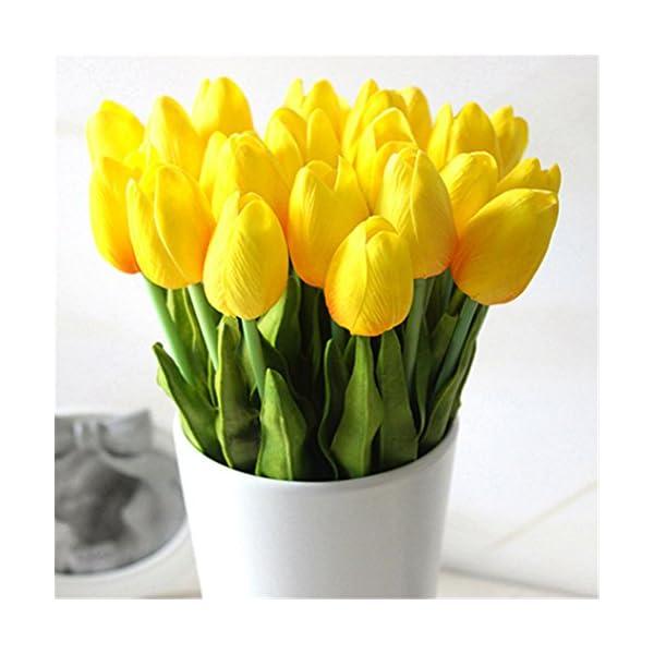Sukisuki 10 tulipanes artificiales de piel sintética, ramo de tulipanes para decoración del hogar (rosa).