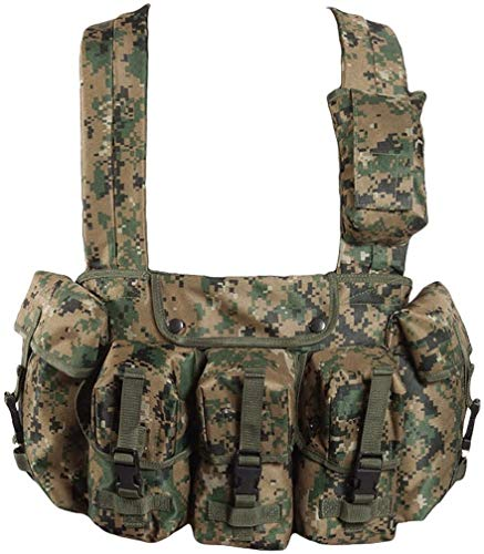 GILET DE POITRINE OU CHEST RIGG OU CEINTURE MULTI POCHES CAMO DIGITAL WOODLAND MILTEC 13530071 AIRSOFT