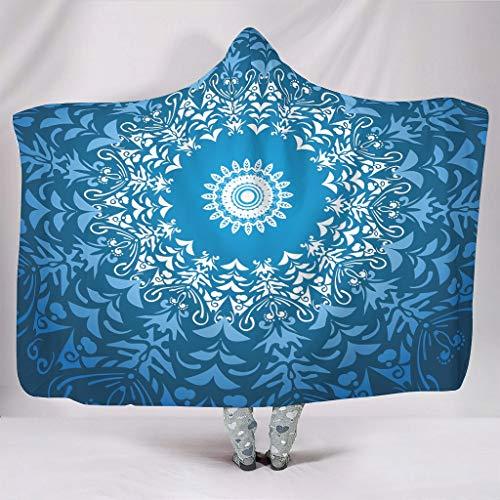 NC83 Vleermuisdeken, marineblauw, mandala-design, print, microvezel, winterdeken, origineel geschikt voor volwassenen en vrouwen