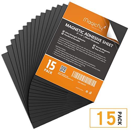 Magicfly Magnetfolie, 15 Stück Magnet Magnetisch Papier Platten Selbstklebend, 20.3 x 25.4 cm für Fotos Kinderzeichnungen, DIY