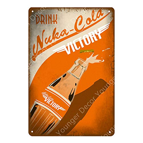 Nuka Cola Quantum Poster Fallout 3 4 Game Metal Signs Wall Plaque Decor for Home Room Shop Hotel Iron Painting Yi-111 20x30cm YD5139AI