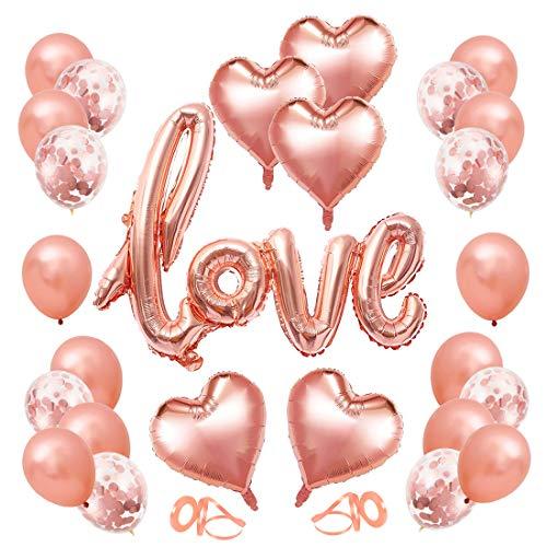 Kit de Decoración para Bodas, 32 PCS Kit Bodas Aniversarios Decoraciones , Love XXL, Globos Corazon Rosa, Decoración Día Bodas Nupcial Aniversario y Compromiso