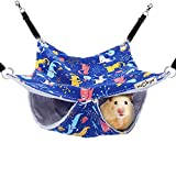 HOMEYA Pet Small Animal Hanging Hammock, Bunkbed Hammock Toy for Ferret Hamster Parrot Rat Guinea-Pig Mice Chinchilla Flying Squirrel Sleep Nap Sack Cage Swinging Bed Hideout (Small Cat Pattern)