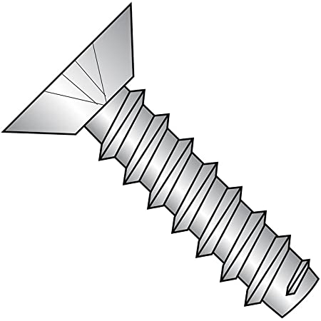 Type AB Phillips Drive Plain Finish 18-8 Stainless Steel Sheet Metal Screw 3//16 Length Pack of 100 Undercut 82 degrees Flat Head #4-24 Thread Size