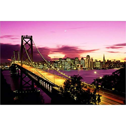 TBWPTS Canvas Schilderij New York Brooklyn Bridge canvas prints schilderij stad nacht landschap kunst foto woonkamer muur decor groot formaat