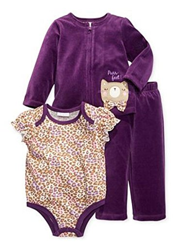 First Impressions Infant Girl 3 PC Purple Velour Kitty Pants Shirt Sweater 3-6m