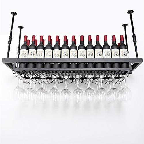Estantes colgantes para copas de vino Montado en pared industrial Vino y estante de vidrio, barra de techo de metal ajustable Rack de vino, estante de vino colgante con soporte de vidrio, soporte de b
