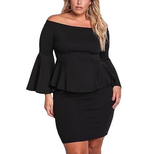 2c4e6193b12 VINKKE Womens Peplum Off The Shoulder Party Plus Size Mini Dress