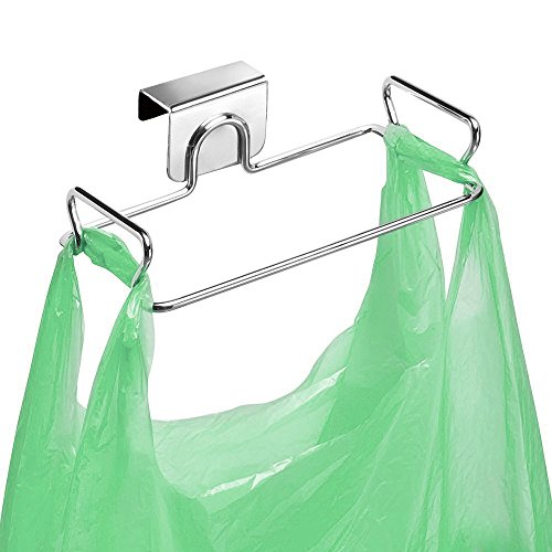 Large Stainless Steel Trash Bag Holder for Kitchen Cabinets Doors and Cupboards, Stainless Steel