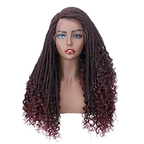 Dreadlock Wigs for Black Women Goddess Curly Braids Faux Locs Crochet Twisted Braided Wig Synthetic Hair Twist Dreads Braid Wig With Baby Hair C Part Hairline 25inch Long Black Mix Burgundy Wine Red