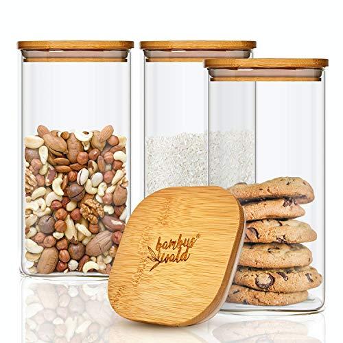 bambuswald© 3er Set Glasbehälter | Vorratsgläser mit luftdichten Deckel aus Bambus & 500ml - Aufbewahrungsglas ideal für Trockenfrüchte, Müsli & Pasta aus Borosilikatglas | Vorratsdosen