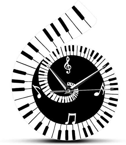 Orologio Da Parete Orologio Da Parete Silenzioso In Bianco E Nero Con Spartiti Musicali Orologio Da Parete Decorativo Segno Di Chiave Di Violino Con Tastiera Di Pianoforte Nota Musicale Orologio Da Pa