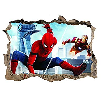 FJIANWEI Superhero Wall Stickers 3D Spiderman Removable PVC Wall Decals Decoration Boys Bedroom Living Room for Kids Nursery(19.7x27.6 Inch)