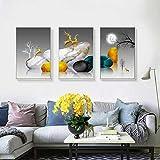 LELME Póster de ciervo dorado y piedra en lienzo en blanco y negro abstracto, arte para dormitorio, decoración de pared de habitación, 70 x 100 cm, 3 piezas, sin marco