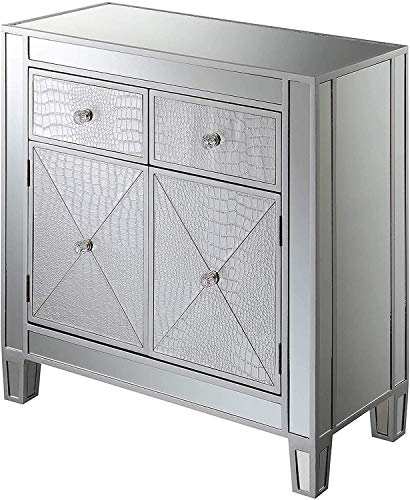 Convenience Concepts Gold Coast Vineyard 2 Drawer Mirrored Hall Table, Silver Faux Croc / Silver
