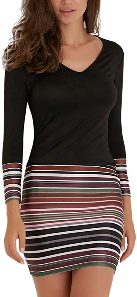 iQKA 2020 Ladies Womens Casual Dresses Striped Patchwork V-Neck Long Sleeve Bodycon Shirt Dress Evening Party Dress Vestido