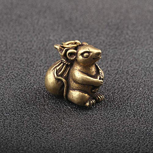 Solid Brass Cute Small Rat Carry Fortune Bag Keychain Pendants Vintage Copper Mouse Lucky Money Bag Key Chain Ring Hanging Gifts