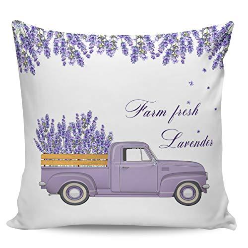 Winter Rangers Fundas de almohada decorativas, diseño de lavanda de granja fresca, hermosa, vintage, morado, camión, ultra suave, funda de cojín cuadrada cómoda para sofá dormitorio, 40,6 x 40,6 cm