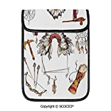 SCOCICI iPad Pro 12.9 Inch Sleeve Tablet Protective Bag Ethnic Tomahawk Tribal Native Chef Dreamcatcher Feather Old World Motifs Image Decorative Custom Tablet Sleeve Bag Case