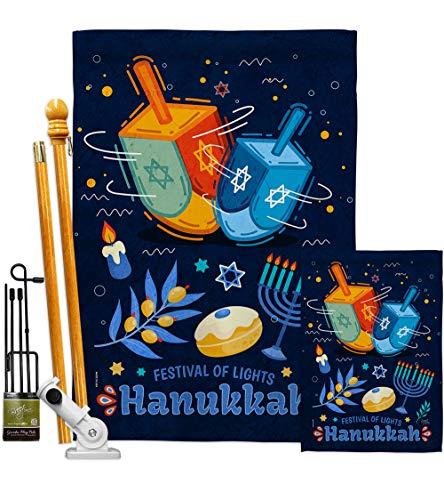 Breeze Decor Festival of Lights Garden House Flag Kit Winter Hanukkah Candle Bonsai Menorah Jewish Chanukah David Decoration Banner Small Yard Gift Double-Sided, 1 x 1 x, Thick Fabric