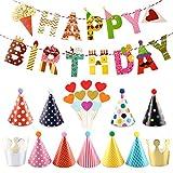 Decoración Cumpleaños,Kit Decoración Fiesta Cumpleaños-1 Pieza Pancarta Happy Birthday,11 Piezas Gorros de Fiesta,10 Piezas Decoración de Tartas,Cumpleaños Decoracion de para Niñas niño