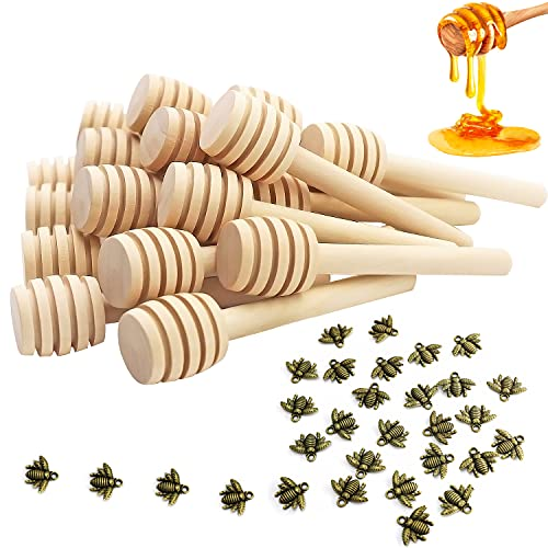 LOOGI Juego de 30 cucharas para miel con colgante de abeja, 8...