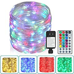 16 Colors Changing Plug-in Outdoor String Lights: 80 Ft 240 LEDs Outdoor plug-in string lights with 16 colors, use remote or wire switch to switch different color: Red, Green, Blue, Yellow, Purple, White to match the special festivals you celebrate o...