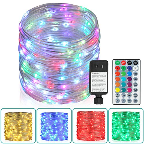 Outdoor String Lights,80 Ft Rope Lights 240 LEDs Color Changing Lights with Remote, Waterproof Lights Plug-in Outdoor Fairy Lights Twinkle Lights for Wedding, Patio, Garden, Christmas Decor,16 Colors