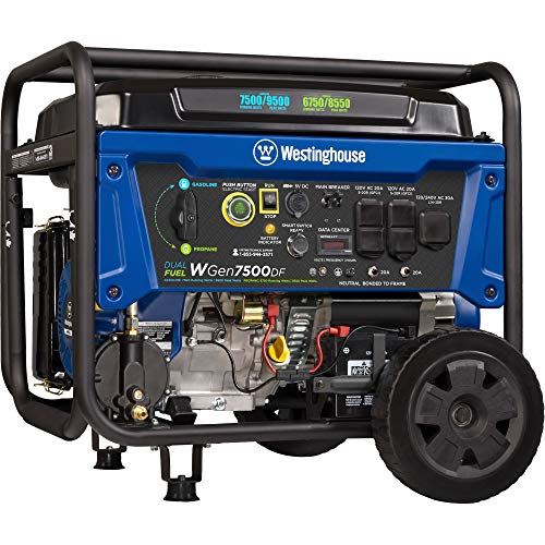 Westinghouse Outdoor Power Equipment WGen7500DF Dual Fuel Portable Generator 7500 Rated & 9500 Peak Watts, Gas or Propane Powered, Electric Start, Transfer Switch Ready, CARB Compliant