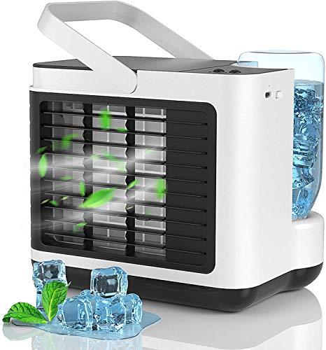 Aire Acondicionado Portátil Silencioso, 4 en 1 USB Mini Enfriador con 3 Velocidades Y LED Luz Nocturna Función de Purificador Dormitorio/Oficina/Autocaravana/Exterior/Regalos de Verano - Blanco