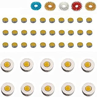 ACS/ACM Sujok Therapy Acupressure Byol Point Set of 30 + Chakra Set of 10 Magnets + Finger Massager Rings Set of 5 Byol Point Magnet - 5Mm Dia, Chakra Magnet - 12Mm Outer Dia Magnets