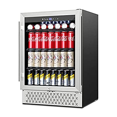 Beverage Refrigerator 24 Inch, 190 Can Built-in/Freestanding Beverage Cooler Fridge with Glass Door and Advanced Cooling Compressor for Beer and Soda or Wine, LOW NOISE, 37-64?