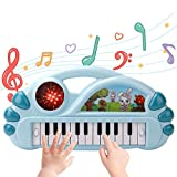 BOBXIN Kids Piano Electric Keyboard, Baby Mini Piano Toy with 22 Keys, 22 Music and Light, Musical Piano Toys for Boys and Girls 18 Month+(Blue)