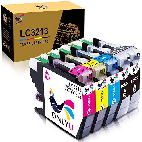 ONLYU LC3213 LC-3213 Cartucho de Tinta Compatible con Brother LC3213 LC-3213 Compatible con Brother DCP-J772DW J774DW MFC-J890DW J895DW Impresora 5 Paquete (2 Negro 1Cyan 1Magenta 1 Amarillo)