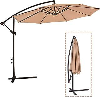 Patio Umbrella Cantilever Umbrella Offset Umbrella Market Umbrella Deck Outdoor 10` Hanging Umbrella with Base for Garden Backyard Poolside