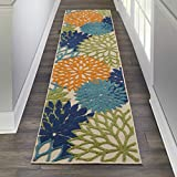 Nourison Aloha Indoor/Outdoor Floral Blue Multicolor 2' x 6' Area Rug Runner (2'x6')
